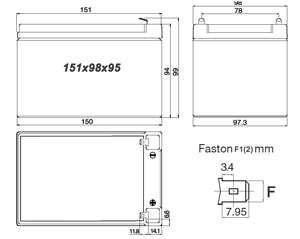 Размеры аккумулятора 12v 12ah.