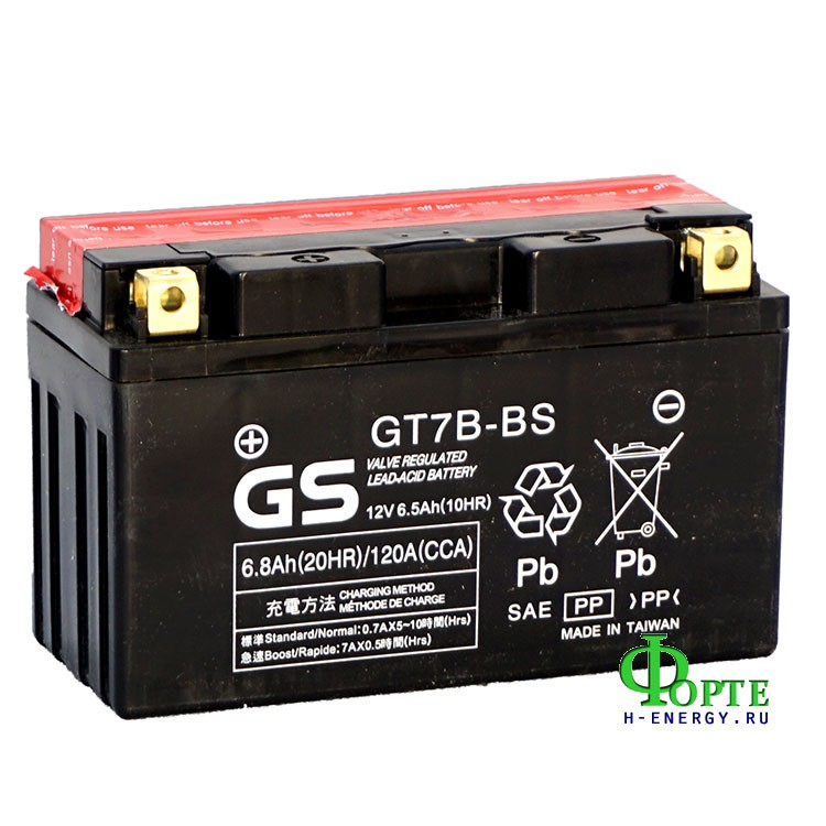 мотоаккумулятор gs battery taiwan co., ltd. (yuasa) gs gt7b-bs